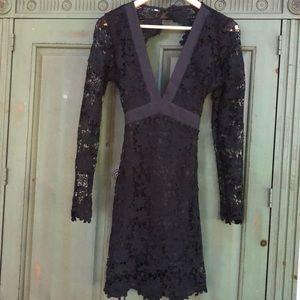 Black Lace overlay Backless Midi Dress